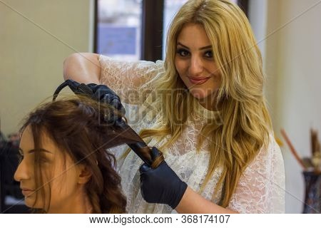 Young Woman With Hair Rollers, Young Woman In The Hairdresser Salon, The Hairdresser Decorates The C