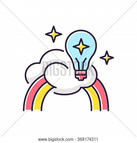 Inspiration Rgb Color Icon. Creative Mind. Motivation For Curiosity. Imagination Of Artist. Genius B
