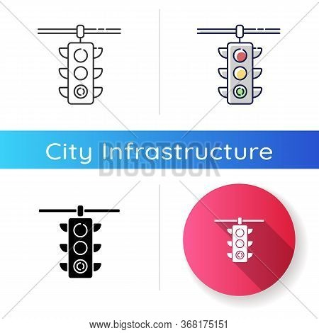 Traffic Lights Icon. Road Regulation Lamp. Safety Control On Highway. Permit To Drive On Intersectio