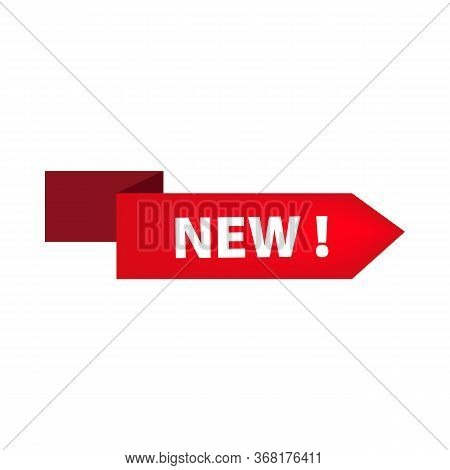 Red Ribbon With New Tag On White Background. Novelty, Store, Shopping. Sale Banner Concept. Illustra