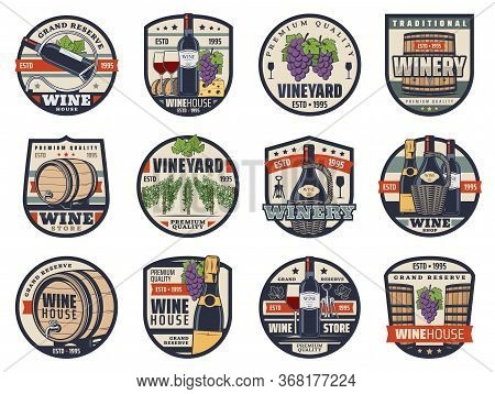 Wine, Winemaking And Viticulture Isolated Vector Icons. Shop, Wine Bottles, Glasses And Grapes, Cham