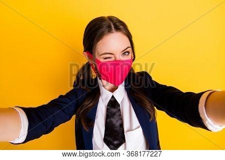 Close Up Photo Of High School Student Girl Make Selfie Blogging Wink Blink Wear Formal Black Blazer