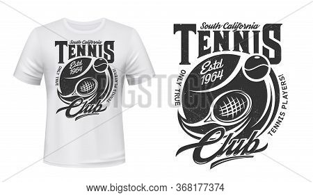 Tennis Sport Game T-shirt Print Vector Mockup. Tennis Racket, Flying Ball And Grunge Typography. Rac