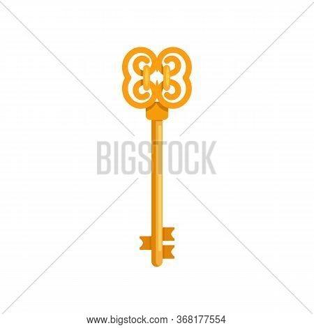 Golden Old Key Illustration. Mechanism, Protection, Safety. Houseware Concept. Illustration Can Be U