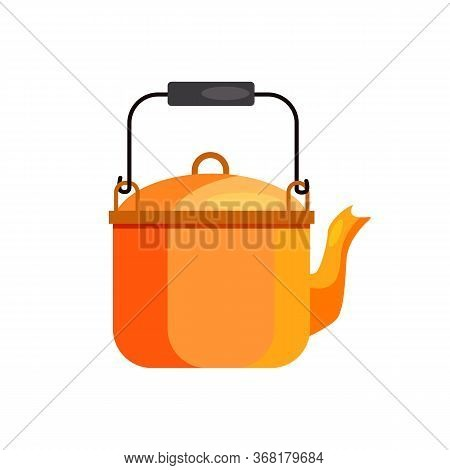 Camping Kettle. Pot, Water Boiling, Tea. Camping Concept. Illustration Can Be Used For Topics Like C