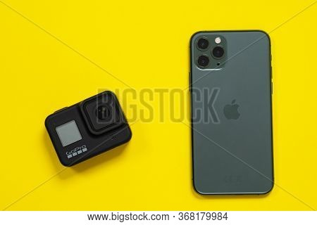 May 08, 2020, Rostov, Russia: Smartphone Iphone 11 Pro Of Midnight Green Color And Action Camera Gop