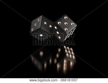 Poker Dice. View Of Golden White Dice. Casino Gold Dice On Black Background. Online Casino Dice Gamb