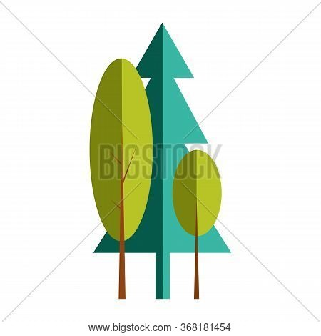 Forest Area. Fir Trees, Park, Wood. Nature Concept. Illustration Can Be Used For Topics Like Camping