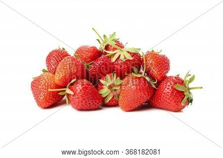Tasty Red Strawberry Isolated On White Background. Summer Berry