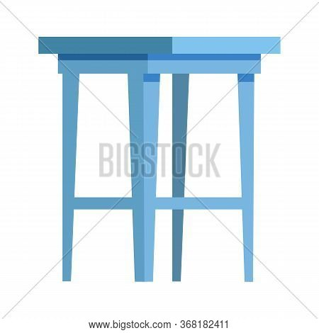 Blue Stool Flat Icon. Kitchen, Seat, Table. Chairs Concept. Illustration Can Be Used For Topics Like