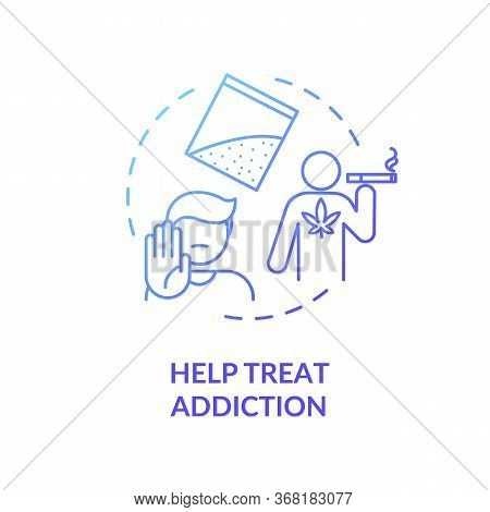 Help Treat Addiction Concept Icon. Quitting Smoking Program. Drugs Dependence Rehabilitation Center