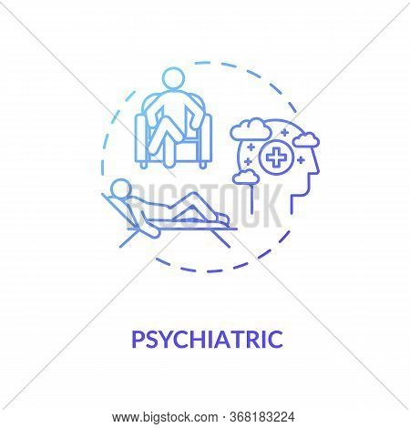 Psychiatric Help Concept Icon. Mental Disorder Treatment. Psychotherapy Idea Thin Line Illustration.