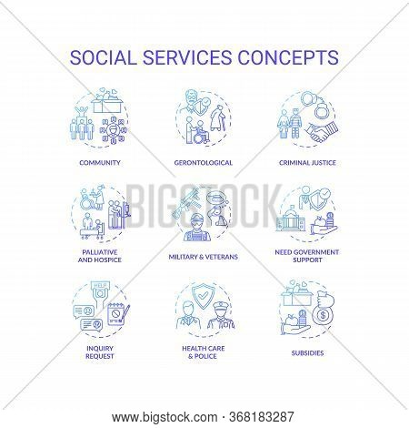 Social Services Concept Icons Set. Criminal Justice. People Medical And Financial Support Organizati