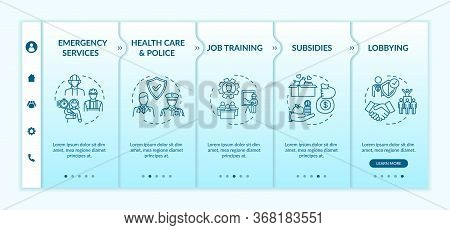Public Service Onboarding Vector Template. Health Care, Emergency Service. Government Support. Respo