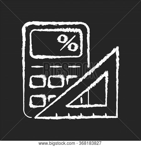 Mathematics Chalk White Icon On Black Background. Formal Science. School Subject, Scientific Discipl