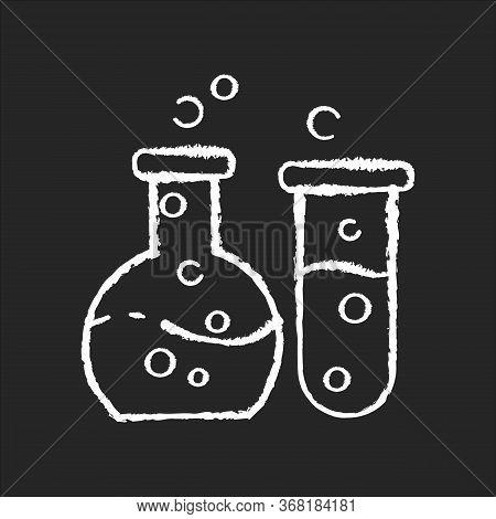 Chemistry Chalk White Icon On Black Background. Fundamental Science, Natural Scientific Discipline.