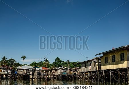 Mabul Island, Sabah, Malaysia - August 08, 2018: A Home On The Blue Ocean At The Mabul Village
