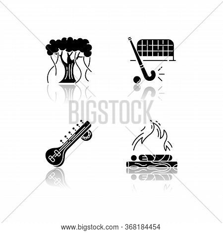 Indian Culture Drop Shadow Black Glyph Icons Set. Religious Ritual. Hindu Funeral Rite. Cremation. B