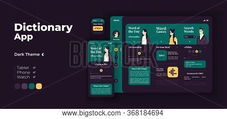 E Learning App Screen Vector Adaptive Design Template. Word Games. Online Dictionary Application Nig