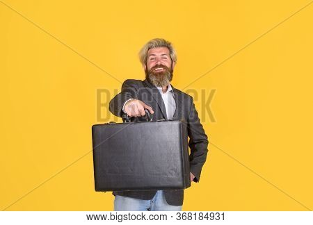 Business. Office Worker. Smiling Businessman With Suitcase. Ceo. Bearded Businessman In Suit. Busine
