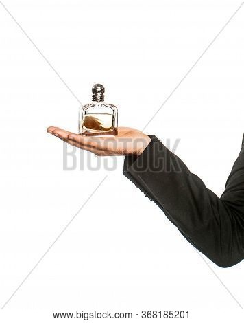 Perfume Or Cologne Bottle And Perfumery, Cosmetics, Scent Cologne Bottle, Male Holding Cologne. Male
