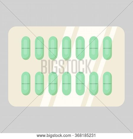Blister Of Green Pills. Drugs, Painkillers, Remedy. Treatment Concept. Illustration Can Be Used For