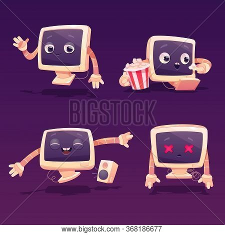 Cute Computer Character In Different Poses. Vector Set Of Cartoon Chat Bot, Funny Computer Monitor G