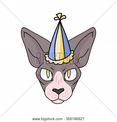 Cute Cartoon Sphynx Cat Face With Party Hat Vector Clipart. Pedigree Exotic Breed For Cat Lovers. Pu