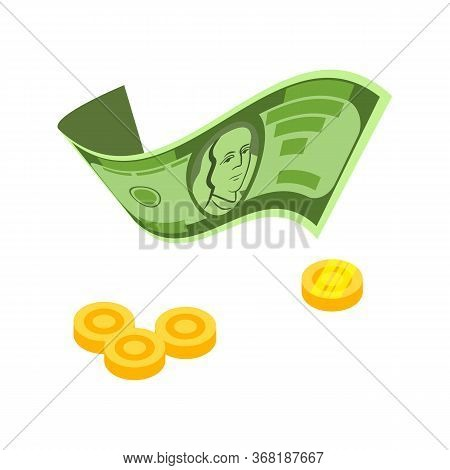 Dollar Bill And Coins . Payment, Wages, Income. Money Concept. Illustration Can Be Used For Topics L