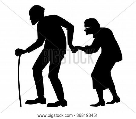 Vector Black Silhouette Of An Old Couple, A Lonely Elderly Man And Women, Grandparents, Union, Famil