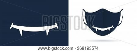 Mouth With Canines Protective Mask Design Template.