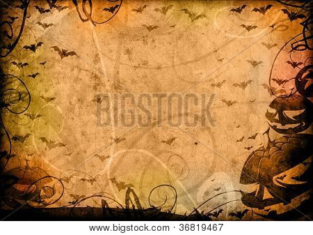Pumpkins And Bats Halloween Vintage Background