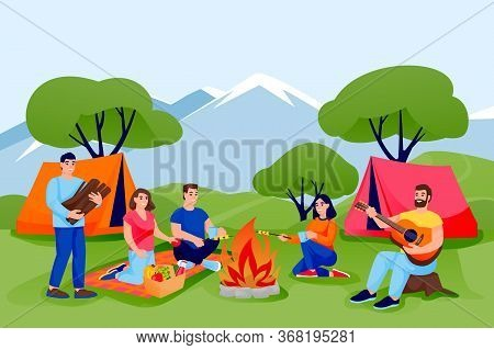 Summer Camping And Ecotourism. Friends Have Rest In Forest Or Mountains Camping In Tents. Vector Peo