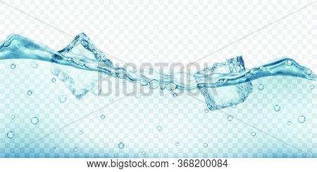 Translucent Ice Cubes And Air Bubbles Floating In Water On Transparent Background. Vector Illustrati