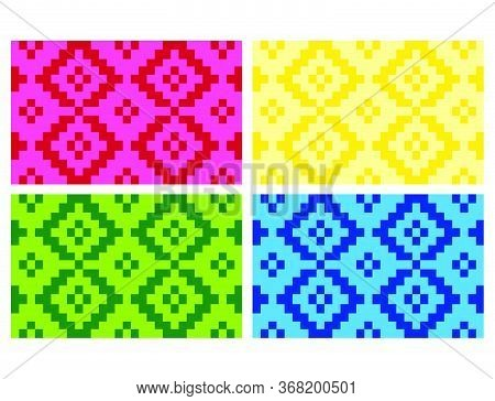 Flat Colorful Beautiful Decorative Ethnic Woven (anyaman) Background Texture 17