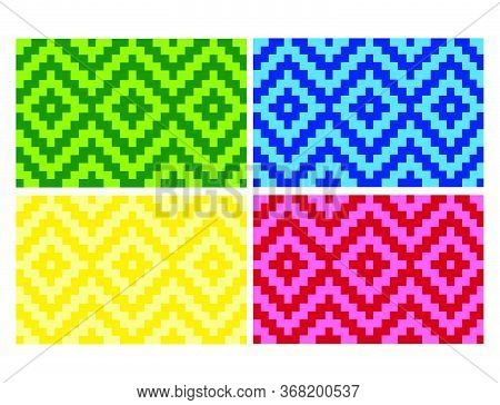Flat Colorful Beautiful Decorative Ethnic Woven (anyaman) Background Texture 18
