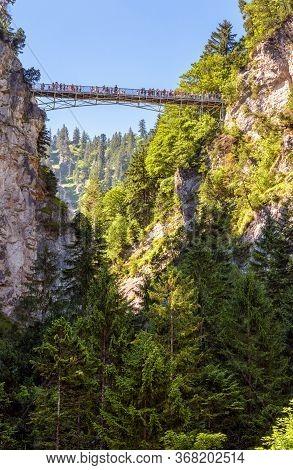 Bridge Of Queen Mary Or Marienbrucke Over Alpine Gorge Near Neuschwanstein Castle, Bavaria, Germany.