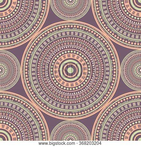 Suzani Ethnic Motifs Seamless Pattern. Circle Medallion Mandala Abstract Tiles. Textile Print Templa