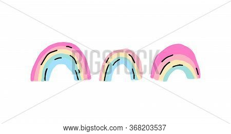 Trendy Colorful Aesthetic Rainbows Set. 90s Abstract Background. Bright Simple Scandinavian Poster F