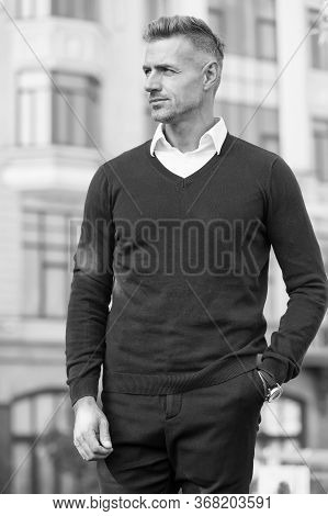 Luxury Design Clothes. Fashion Shop. Attractive Mature Man. Mature Guy With Grey Hair And Bristle. F