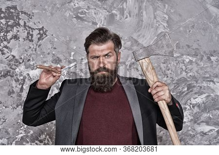 Choose Vintage Shave. Hipster Hold Straight Razor And Axe. Bearded Man With Brutal Look. Cutthroat S