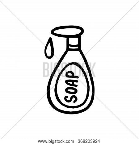 Hand-drawn Soap Bottle Isolated On A White Background. Sanitizer.doodle Style.natural Soap, Toiletri