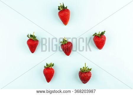 A Top View Strawberries Red Fresh Mellow Isolated On The White Floor