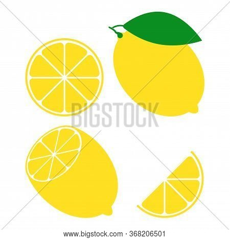 Set Of Fresh Lemon Fruit Isolated On A White Background. Whole, Halved, Sliced Citrus. A Collection