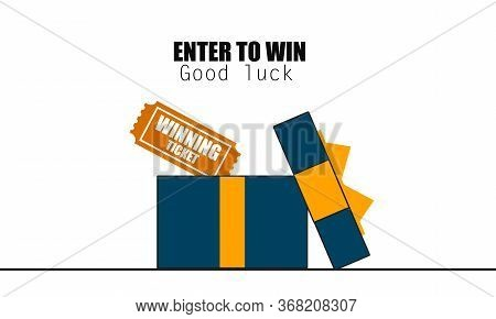 Prize Box Opening With Enter To Win Word, 3d Rendering