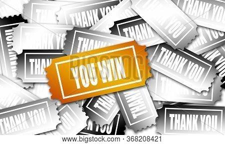 Golden Winning Ticket With You Win Word, 3d Rendering