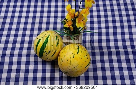 Fruits Of Cucumis Melo. The Melon Can Have Different Shapes And Colors, Both In The Skin And The Pul