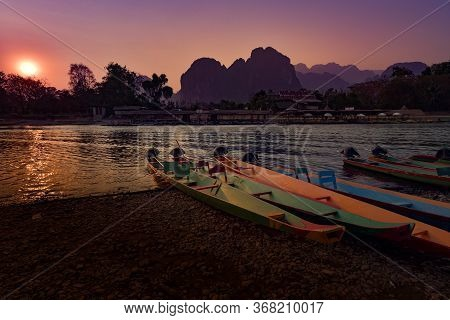 Nam Song River At Sunset Vang Vieng  Laos