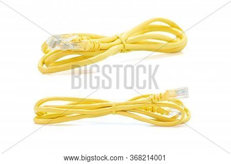 Lan Cable Yellow And Connector Isolated On White Background With Clipping Path.