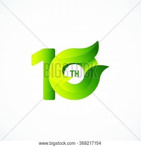 10 Th Anniversary Celebrations Green Gradient Vector Template Design Illustration
